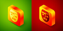 Isometric Mexican Mayan Or Aztec Mask Icon Isolated On Green And Red Background. Square Button. Vector.