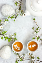Tea Bowls  And  Cherry  Flower...