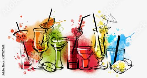 Tableau sur Toile Cocktails banner. Watercolor vector cocktails.