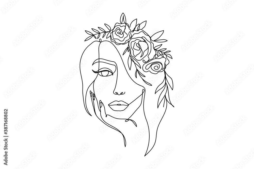 Fototapeta Trendy woman's face fashion illustration in one line art style. Continuous art modern vector illustration with face silhouette and floral wreath on white background. Tattoo, print or fashion concept