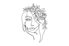 Trendy Woman's Face Fashion Illustration In One Line Art Style. Continuous Art Modern Vector Illustration With Face Silhouette And Floral Wreath On White Background. Tattoo, Print Or Fashion Concept