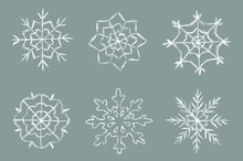 Crayon Snowflakes Colletion. Children Drawing Chalk Style Snowflake Set.  Hand Drawn Wax Crayons Art. Happy New Year And Merry Christmas Snowflakes. Color Pastel Crayons  Freehand Drawn Snowflake.