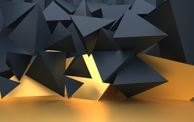 Background with triangular geometric shapes, pyramids in dark shades with gold accents