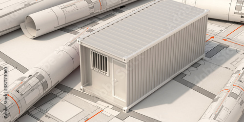Obraz Construction site office, cargo container model on building blueprint plans background. 3d illustration.. - fototapety do salonu