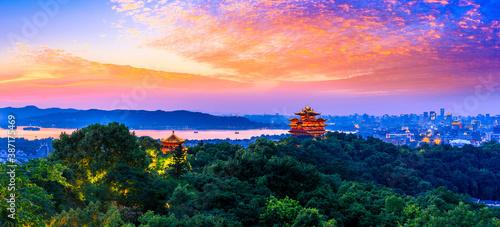 Fototapeta landscape of chenghuang pavilion in hangzhou west lake,China.