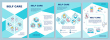 Self Care Brochure Template. Mental, Emotional, And Physical Health. Flyer, Booklet, Leaflet Print, Cover Design With Linear Icons. Vector Layouts For Magazines, Annual Reports, Advertising Posters