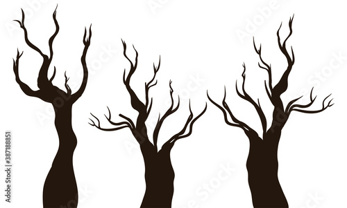 Fényképezés Isolated Silhouettes of Dry Trees over White Background, Vector Illustration