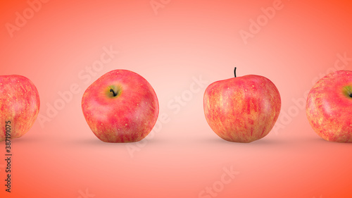 Fototapeta Ripe red apples, endless movement. 3D rendering