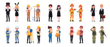 People Job Character Man And Woman Set.Vector Illustration In A Flat Style