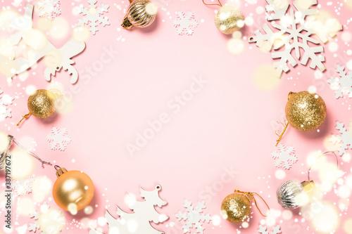 Obraz na plátně Christmas pink flat lay background with holiday decorations.