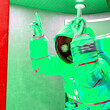 Leinwandbild Motiv astronaut is inside the photo machine