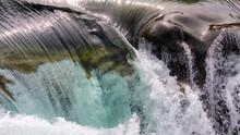 Clear Mountain Water Rushing Over Rocks Closeup