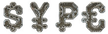 Mechanical Alphabet Made From Rivet Metal With Gears On White Background. Set Of Symbols Dollar, Yen, Rouble And Euro. 3D