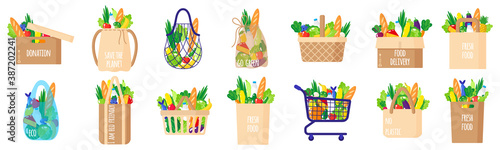 Fototapeta Vector cartoon set of paper grocery bags, baskets, cart, box, turtle bag with he