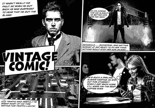 Vintage Comic Book Effect Mockup