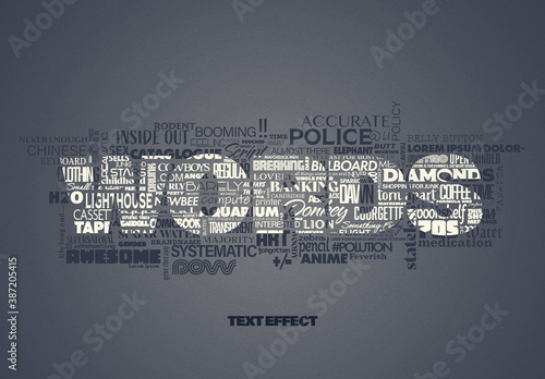 Mixed Text Words Cloud Effect Mockup