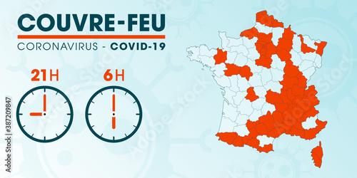 Carte des départements de France concernés par le couvre-feu - mise à jour du 22 octobre - pandémie du coronavirus covid19 - déplacement interdit de 21h à 6h - illustration vectorielle