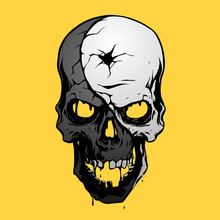 Black And White Skull On Yellow Background