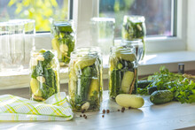 Fresh Cucumbers Ready To Be Pickled. Marinated Preserving Jars. Homemade White And Green Cucumber Pickles With Basil, Fresh Parsley, Dill, Spices Near Window In The Sunny Summertime.
