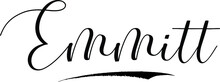Emmitt -Male Name Cursive Calligraphy On White Background
