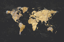 Abstract Colorful Texture With Gold. World Map, Silhouette Of Continents Planet Earth