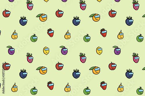 Fototapeta premium Papier, tapeta, tekstura, owoce, dziecinne,