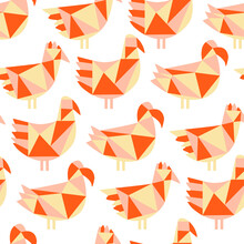 Seamless Pattern With Paper Cut Motley Scrappy Birds On White Background. Colorful Patchwork Vector Illustration For Wallpaper, Scrapbooking, Surface Design