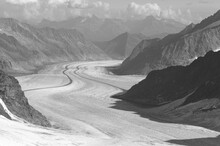 Swiss Alps: The Panoramic View Of The Melting Aletsch-Glacier At Jungfraujoch
