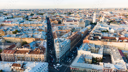 Obraz Stunning aerial view of the historic center of St. Petersburg. - fototapety do salonu