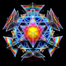 3d Render Of Abstract Art With Surreal Fractal Alien Magic Cyber Quantum Computer Mechanism Based On Triangles And Pyramid With Wire Structure And Plastic Parts In Rainbow Gradient Color On Black