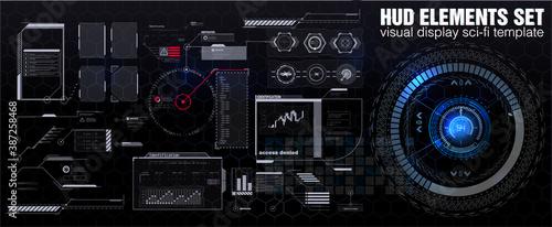 Fototapeta Futuristic HUD, FUI, Virtual Interface. Callouts titles and frame in Sci- Fi style. Bar labels, info call box bars. Futuristic info boxes layout templates.  obraz
