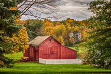 Old Red Barn In Autumn