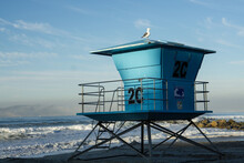Blue Life Guard Station On Cor...