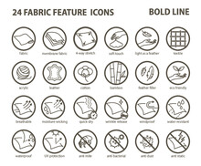 24 Fabric Feature Bold Line Icons-Pictograms With Editable Stroke