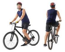 Sporty Young Man Riding Bicycle Against White Background