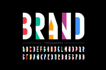 Fototapeta Boks Modern minimal style font, alphabet letters and numbers vector illustration