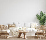 White cozy living room interior, Coastal Boho style, 3d render