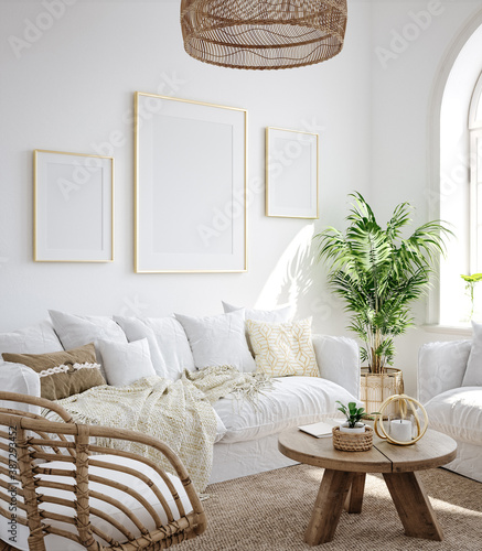 Mockup frame in living room interior background, Coastal Boho style, 3d render