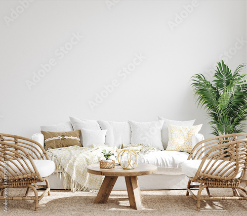 White cozy living room interior, Coastal Boho style, 3d render  - 387293461