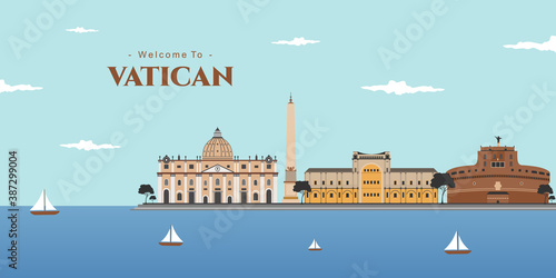 Panoramic view of Vatican, Rome. The best destination with famous historical building for tourist vacation. Rome cityscape with landmark. Italy in a travel and tourism concept. Vector illustration