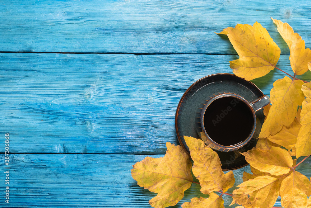 Fototapeta Black coffee in the cup and autumn yellow maple leaves on the blue top view background with copy space.