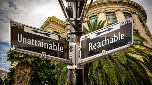 Street Sign to Reachable versus Unattainable Canvas Print