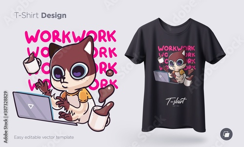 Obraz Illustration of a cat busy with daily household chores. Prints on T-shirts, sweatshirts, cases for mobile phones, souvenirs. Isolated vector illustration - fototapety do salonu