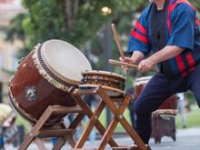 Man Playing Drums Of Japanese ...