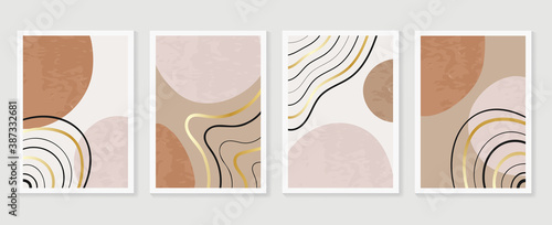 Obraz Abstract wall arts vector collection.  Earth tones organic shape Art design for poster, print, cover, wallpaper, Minimal and  natural wall art. Vector illustration.. - fototapety do salonu