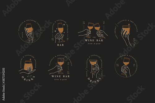 Vector design linear template logos or emblems - hands in in different gestures glass of drink. Abstract symbol for cafe or bar.