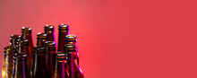 Pink. Neon Colored Beer Bottles, Close Up On Bright Studio Background. Concept Of Beer, Beverage, Entertainment And Alcohol. Copyspace For Your Bar, Restaurant, Brewery Or Shop Advertising. Flyer