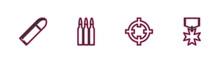 Set Line Bullet, Target Sport, And Military Reward Medal Icon. Vector.