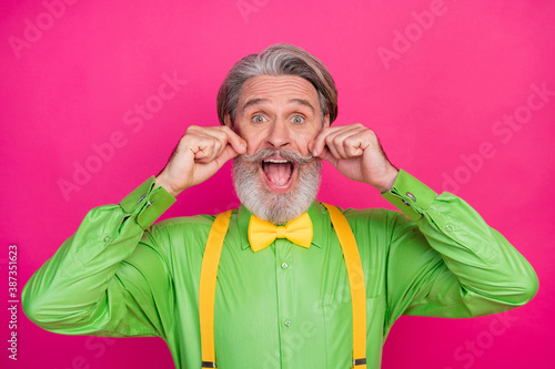 Fotografiet Photo of funky shocked trendy grandpa open mouth curling ideal mustache handsome