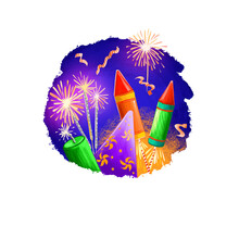Happy Diwali Digital Art Illustration Isolated On White Background. Hindus Festival Of Lights. Deepavali Hand Drawn Graphic Clip Art Drawing For Web, Print. Flying Fireworkd And Burning Sparklers.